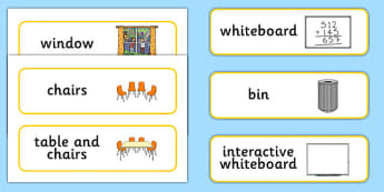 Classroom Furniture Labels - Classroom furniture, furniture label, door, chair, table, window, desk, carpet, bin, dustbin, whiteboad, chalkboard, classroom areas