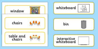 Classroom Furniture Labels - Classroom furniture, furniture label, door, chair, table, window, desk, carpet, bin, dustbin, whiteboad, chalkboard, classroom areas