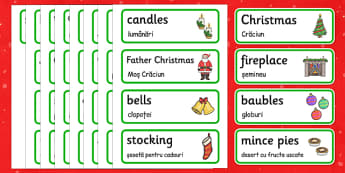 Christmas Topic Word Cards Romanian Translation - romanian, christmas, word cards, word, cards