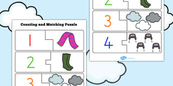 Winter Counting Puzzle - seasons, weather, count, maths, numeracy
