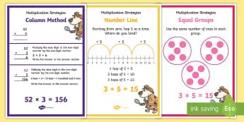 LKS2 Multiplication Strategies Display Posters - multiplication methods, method examples, short multiplication, array, number line, grid method