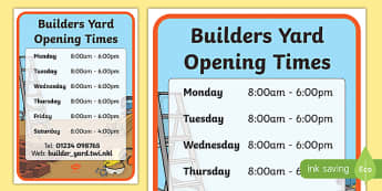 Builders Yard Role Play Opening Times - opening times, role-play