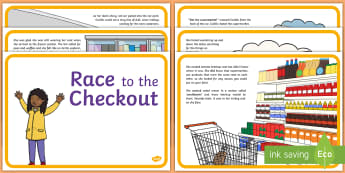 Exploring My World - Race to the Checkout Story - aistear, shopping, supermarket, shops, food, buying, list, ,Irish