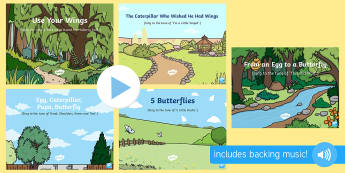 Caterpillar Songs and Rhymes PowerPoints Pack - The Crunching Munching Caterpillar, Sheridan Cain, life cycle of a butterfly, singing, sing time, bu