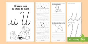"""Scrierea literelor """"u"""" și """"U"""" de mână Broșură cu activități - alfabetul, scriere, litere, de mână, grafisme,Romanian"""