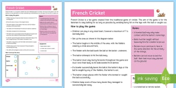 French Cricket Adult Guidance - PE Curriculum Aims KS2, Play competitive games, modified where appropriate, and apply basic principl