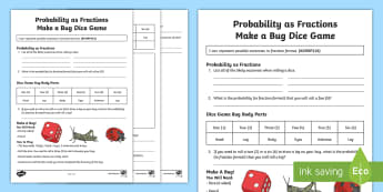 Probability as Fraction Make a Bug Dice Game  Activity - ACMSP116, Chance, Chance Outcomes, Likelihood, Possible Outcomes, Year 5 Maths, Statistics And Proba