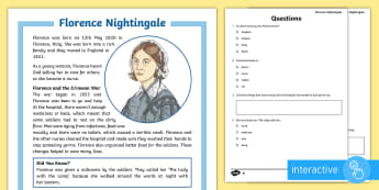 KS2 Florence Nightingale Differentiated Comprehension Go Respond  Activity Sheets - KS2 Florence Nightingale's Birthday (12.5.17), interactive, computing, computer, tablet, ICT, Go Re
