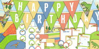 Dinosaur Themed Birthday Party Pack - dinosaurs, birthday, party