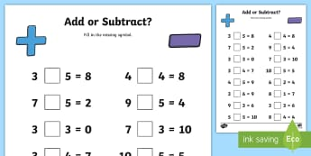 Addition or Subtraction Activity Sheet - WorksheetROI Algebra Resources (Junior Classes)
