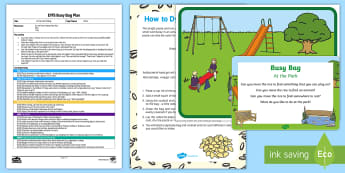 EYFS At the Park Finding Busy Bag Plan and Resource Pack - EYFS Parks and Gardens, playgrounds, sensory play, rice, play park