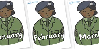 Months of the Year on Officers - Months of the Year, Months poster, Months display, display, poster, frieze, Months, month, January, February, March, April, May, June, July, August, September