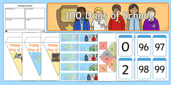 KS1 100 Days of School Resource Pack - 100 Days of School, one hundred, transition, new start, EYFS, first years.