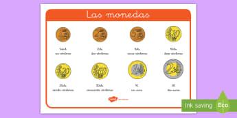 Tapiz de vocabulario: Las monedas - dinero, monedas, euros, euro, céntimo, céntimos, cts., vocabulario, cantidades, ,Spanish