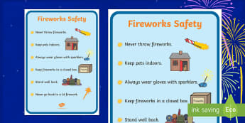 Poster : Firework Safety - Anglais, Langue Vivante, Histoire, Culture, Guy Fawkes, 5 Novembre, Bonfire, Cycle 2, Cycle 3