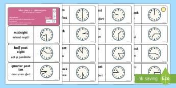 Telling the Time Dominoes English/Romanian - Telling the Time Dominoes - telling the time, dominoes, activity, game, domino, tell, time, telling