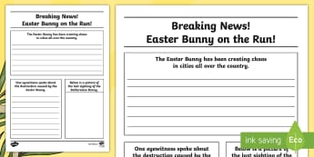 Easter Bunny Newspaper Writing Template - CfE Easter, Easter, newspaper, newspaper reports, Easter bunny