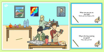 Art Lesson Scene and Question Cards Arabic Translation - arabic, art lesson, questions, comprehension pack