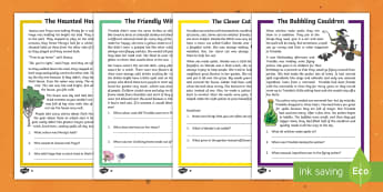 Halloween Differentiated Reading Comprehension Activity Pack English/Portuguese - Halloween, October, festival, autumn, celebration, spooky, ghosts, witch, zombies, cat, cauldron, ha