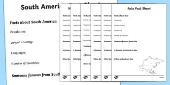 Continents Factsheet Writing Templates - continents, continents factsheets, continents worksheets, facts about continents, ks2 geography, places, continent