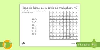 Ficha de actividad: Sopa de letras - La tabla de multiplicar x10 - multiplicar, multiplicación, tabla de multiplicar, múltiplos, sopa de letras, ficha, mates, matem