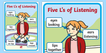 The 5Ls of Listening Display Poster - Australia, listening, look, watch, observe, attention, sit, behaviour,