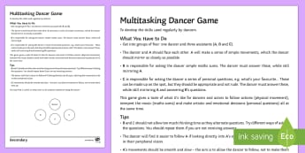 The Multitasking Dancer Game - dance warm up, dance game, concentration, free time