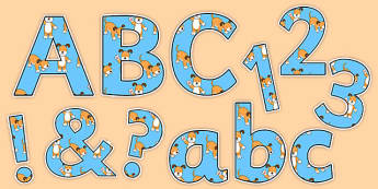 Dog Themed Display Letters and Numbers to Support Teaching on The Blue Balloon - kipper, kipper the dog, kippers birthday, display, letters