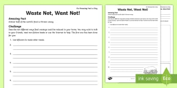 Waste Not, Want Not! Activity Sheet - reduce food waste, reduce reuse recycle, stop food waste, food waste, reduce waste, worksheet