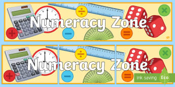 Numeracy Zone Banner - Key Stage 4 Entry Level, display, numbers, colourful,