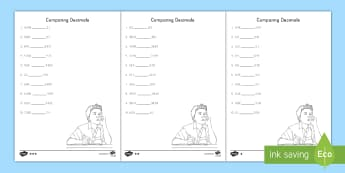 Comparing Decimals Differentiated Activity Sheets - compare, ordering, place value, 5th grade, tenths, hundredths, thousandths, worksheet