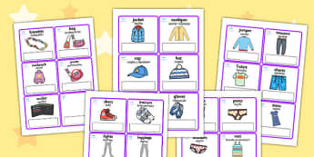 Clothes Editable Cards with English Polish Translation - polish