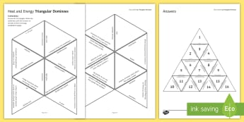 Heat and Energy Tarsia Triangular Dominoes - Tarsia, gcse, physics, conduction, convection, radiation, heat, energy, energy transfer, specific he, plenary activity