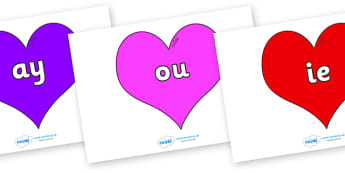 Phase 5 Phonemes on Hearts (Multicolour) - Phonemes, phoneme, Phase 5, Phase five, Foundation, Literacy, Letters and Sounds, DfES, display