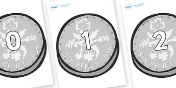 Numbers 0-50 on Sixpence - 0-50, foundation stage numeracy, Number recognition, Number flashcards, counting, number frieze, Display numbers, number posters