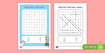 Mary Had a Little Lamb Word Search - mary had a little lamb, nursery rhyme, word search