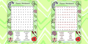 Flowers Wordsearch - flowers, plants, word search, games, words