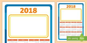 2018 Christmas Gift Calendario anual - 2017 Calendario - Español, calendar, time, hora, calendario, months, meses, days, días, dates, fec