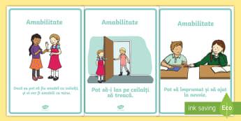 Comportament amabil Planșe - management comportamental, română, comportamente dorite, dezvoltare personală, comportament,Roman