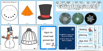 Ready Made Winter Wonderland Display Pack Welsh - gwyl y gaeaf, rhew, oer, y gaeaf, winter, welsh, gaeaf, welsh display, welsh oracy