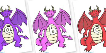 Phase 2 Phonemes on Dragons (2) - Phonemes, phoneme, Phase 2, Phase two, Foundation, Literacy, Letters and Sounds, DfES, display
