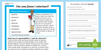 Cosa Fanno i Veterinari lettura Comprensiva - veterinario, veterinaria, animali, dottore, lavoro,da, grande, grandi, lattura, leggere, italiano, i