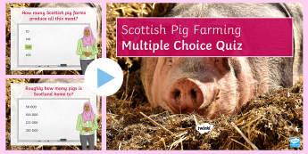 Scottish Pig Farming: Quiz PowerPoint - farm, industry, primary, development, arable, pig, farming