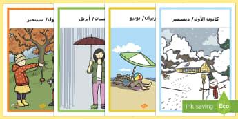 ملصقات عرض أشهر السنة  - أشهر السنة، ملصقات، وسائل عرض، فصول، شهور,Arabic