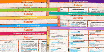 EYFS Autumn Themed Lesson Plan and Enhancement Ideas - notes, instructions, plan, planning, order, organisation, topic, maths, english, resources, tips, tricks, early years, planning