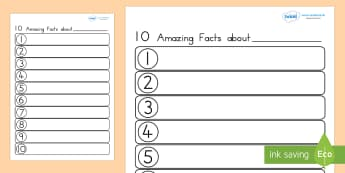 Ten Facts About Me Worksheet - ourselves, all about me