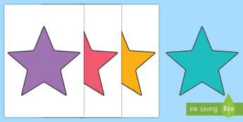 Sterne zum Selbstgestalten-German - Stern, Farben, Ausschneiden, Aufkleber, beschriften, Klassenraumgestaltung, Namensschilder,,German