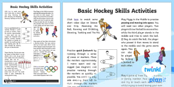 PlanIt PE Year 4 Hockey Home Learning Tasks - Hockey, passing, moving, footwork, Olympics