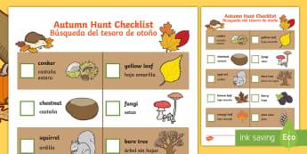 Autumn Hunt Checklist Activity Sheet English/Spanish - Autumn Hunt Checklist - autumn hunt, checklist, autumn, hunt, autmn, autunm, atumn, aurum, aurumn, a