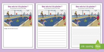 Supports imagés pour la production d'écrits : À la piscine - Écriture, Écrire, Français, Cycle 1, Cycle 2, piscine, nager